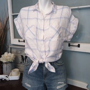 Kenneth Cole button down plaid top